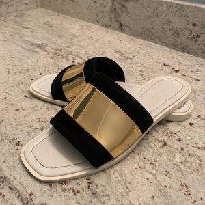 Zara White slides / black suede / gold